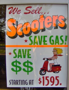 Scooters are an automatic transmission alternative to motorcycles and can get up to 100 miles per gallon. Photo by Antonette Brotman.