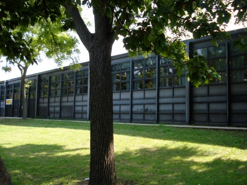 A big, black steel box is a good description of the building that houses Dyett high school. The students there are African American, come from low income households, and score lower than the state average collectively on testing. Photo by Christopher Brinckerhoff.