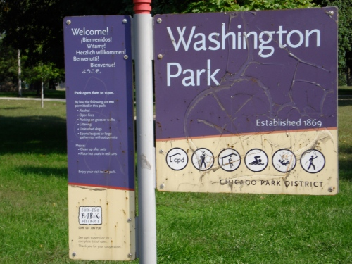 Signage at today's Washington Park notes the historical significance of the space, which was created in 1869. Photo by Christopher Brinckerhoff.